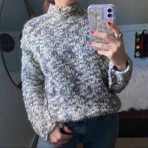 Vintage Chunky Hand Knit Mock Neck Sweater